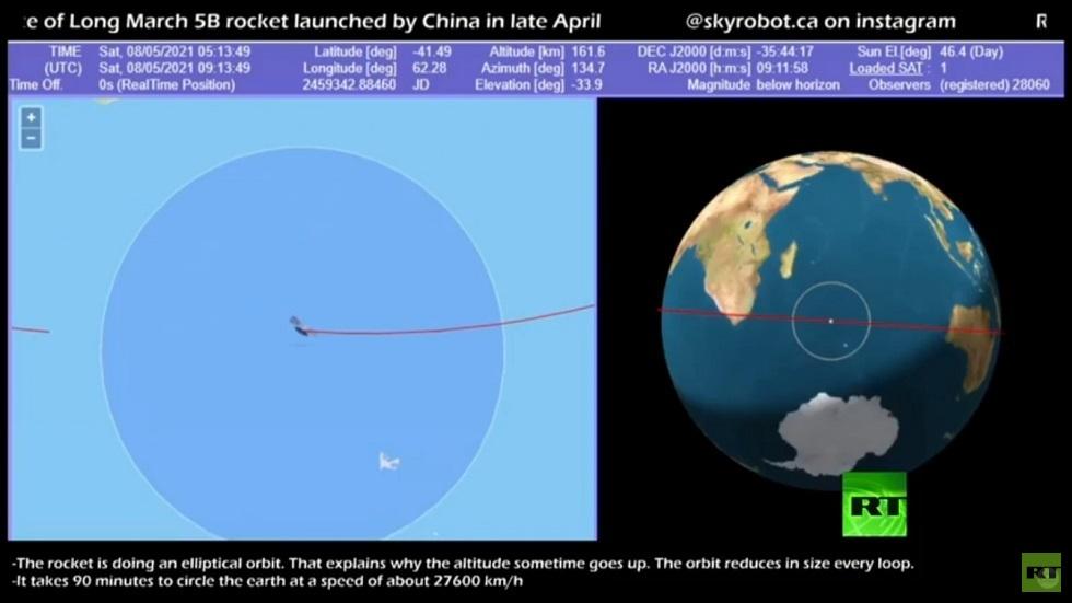 بعد مروره فوق مصر.. مركز الفلك الدولي ينشر صورة لحطام الصاروخ الصيني (صورة)