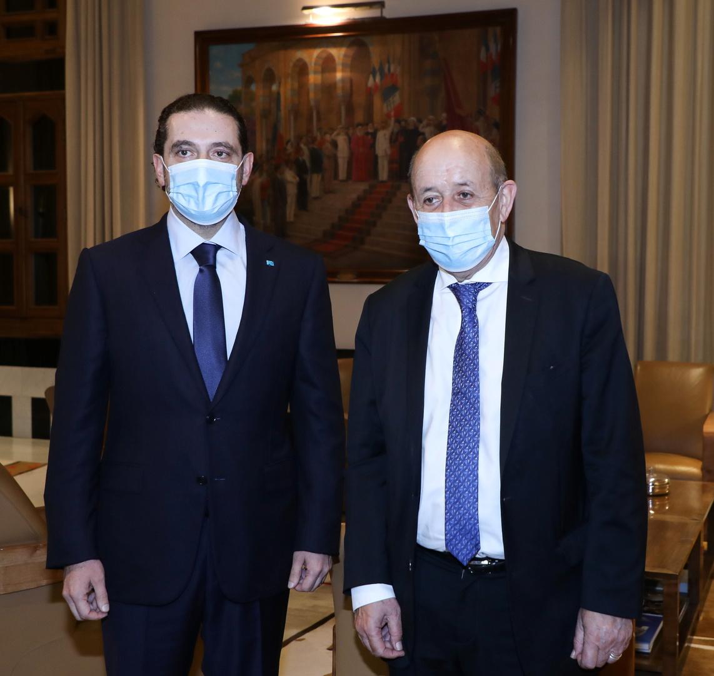 لودريان يتقي الحريري في السفارة الفرنسية لدى لبنان، 6 مايو 2021