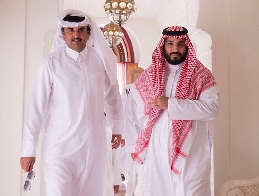 ولي العهد الأمير محمد بن سلمان والشيخ تميم بن حمد آل ثاني أمير قطر