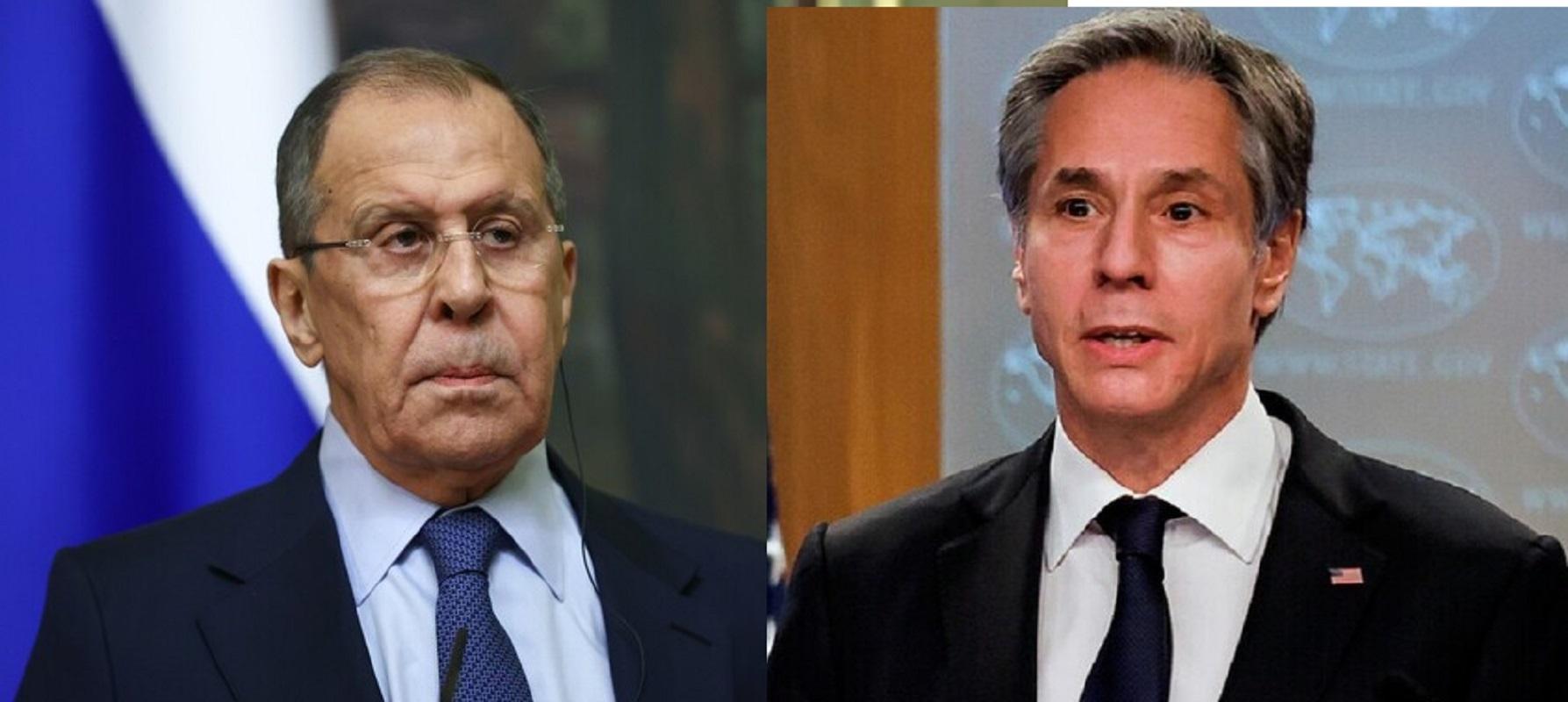وزيرا الخارجية الروسية سيرغي لافروف والأمريكي أنتوني بلينكن