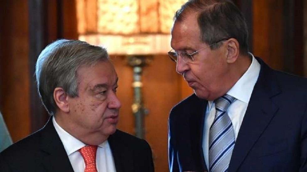 وزير الخارجية الروسي سيرغي لافروف والأمين العام للأمم المتحدة أنطونيو غوتيريش - أرشيف