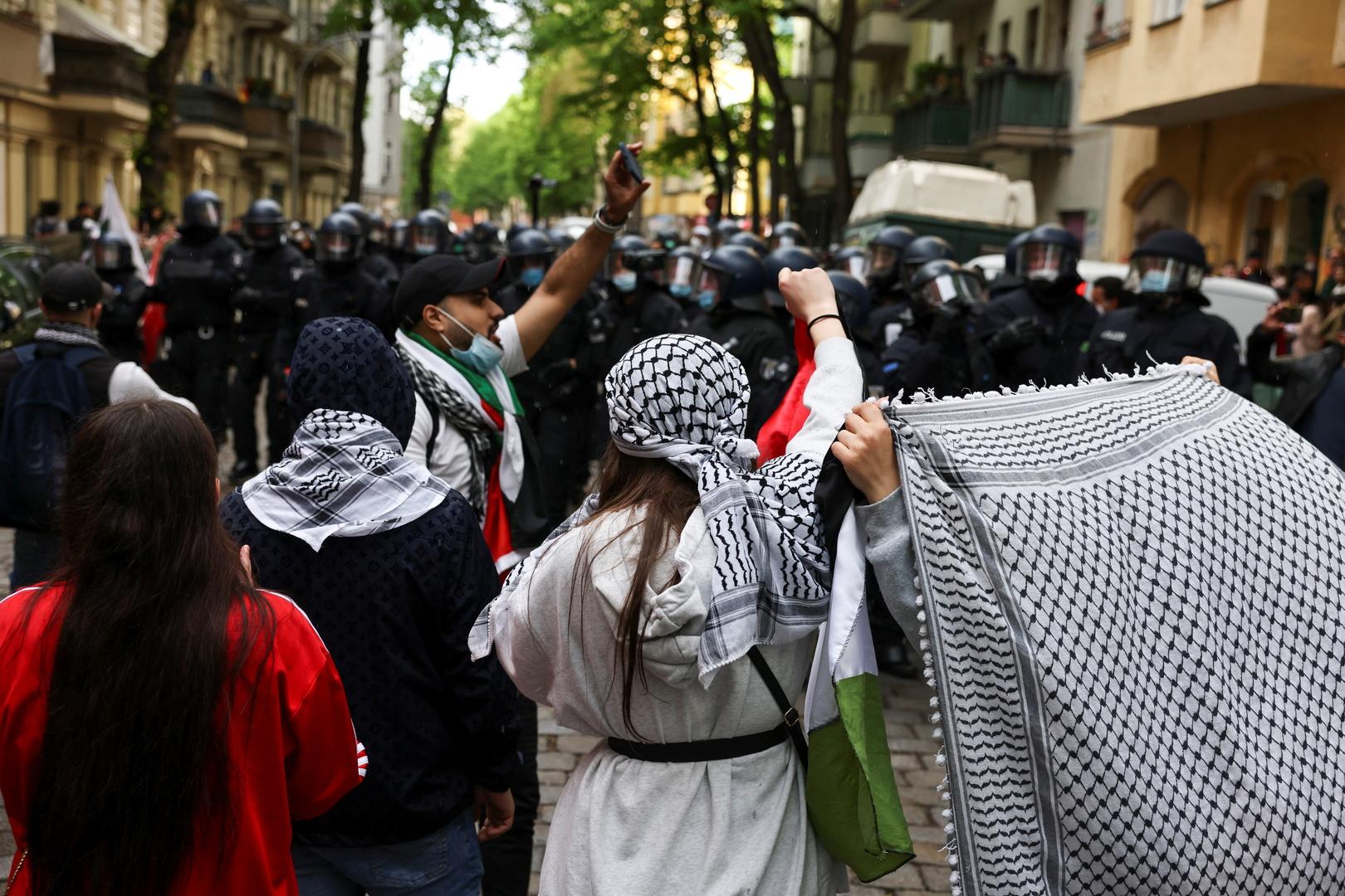 ثاني مظاهرة تضامن مع الفلسطينيين في برلين منذ صباح اليوم