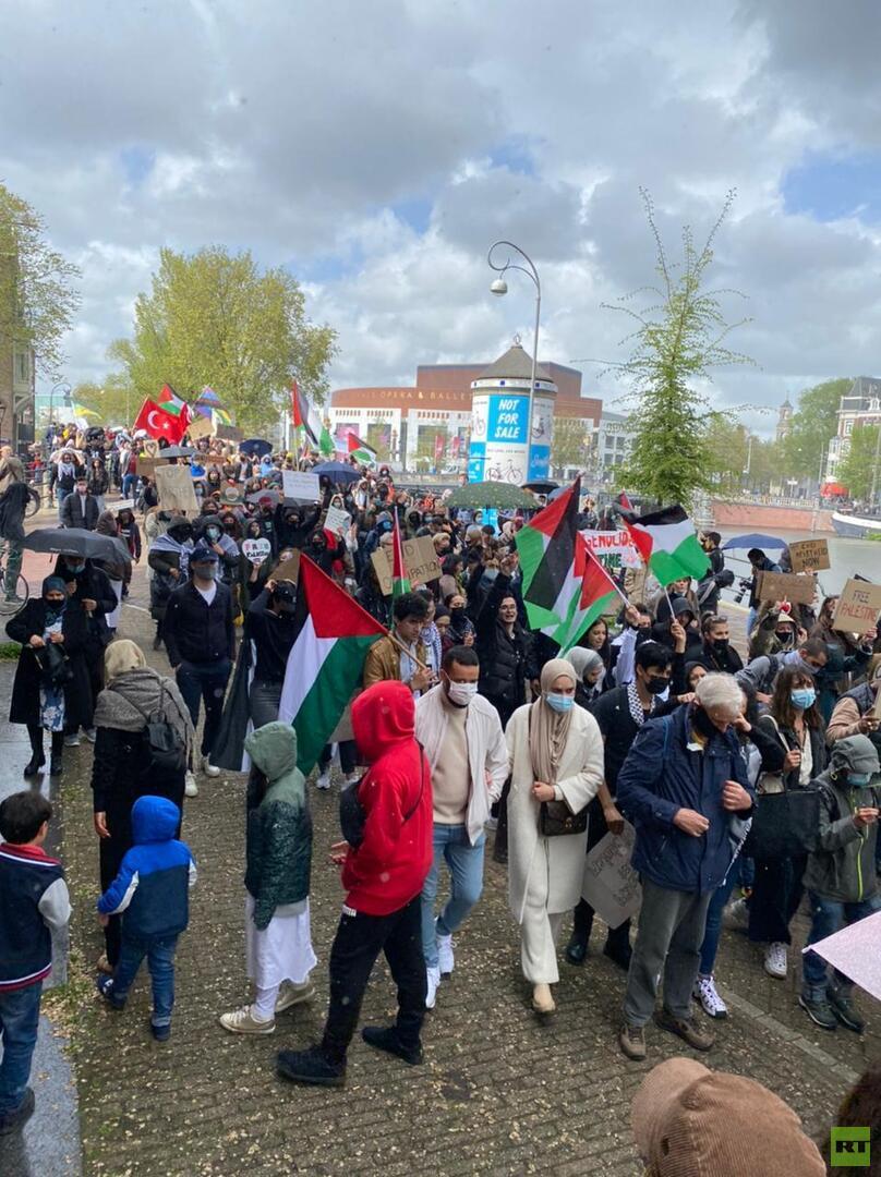 مسيرة جماهيرية حاشدة في أمستردام تندد بالعمليات الإسرائيلية ضد غزة والشيخ جراح