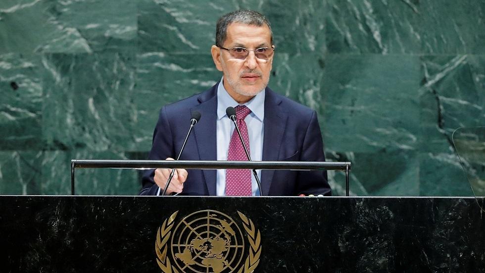 رئيس الحكومة المغربية سعد الدين العثماني على منصة الأمم المتحدة (صورة أرشيفية)