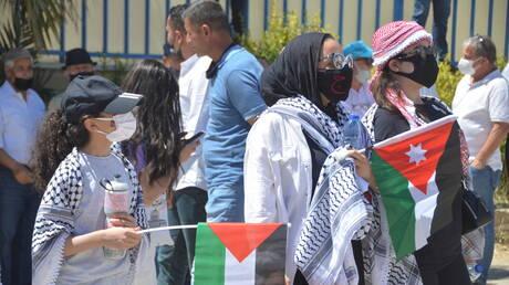 مسيرة حاشدة في العاصمة الأردنية دعما لفلسطين (فيديو)