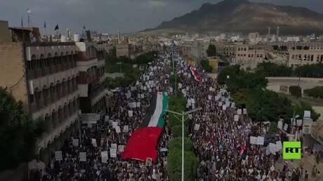 الآلاف يتظاهرون في العاصمة اليمنية تضامنا مع الشعب الفلسطيني