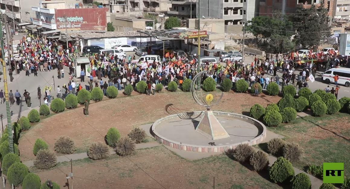 احتجاجات في القامشلي على الهجمات التركية على إقليم كردستان العراق