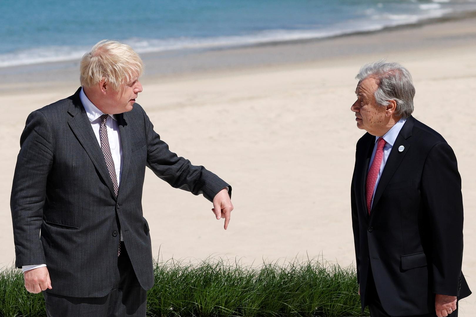رئيس الوزراء البريطاني بوريس جونسون والأمين العام للأمم المتحدة أنطونيو غوتيريش