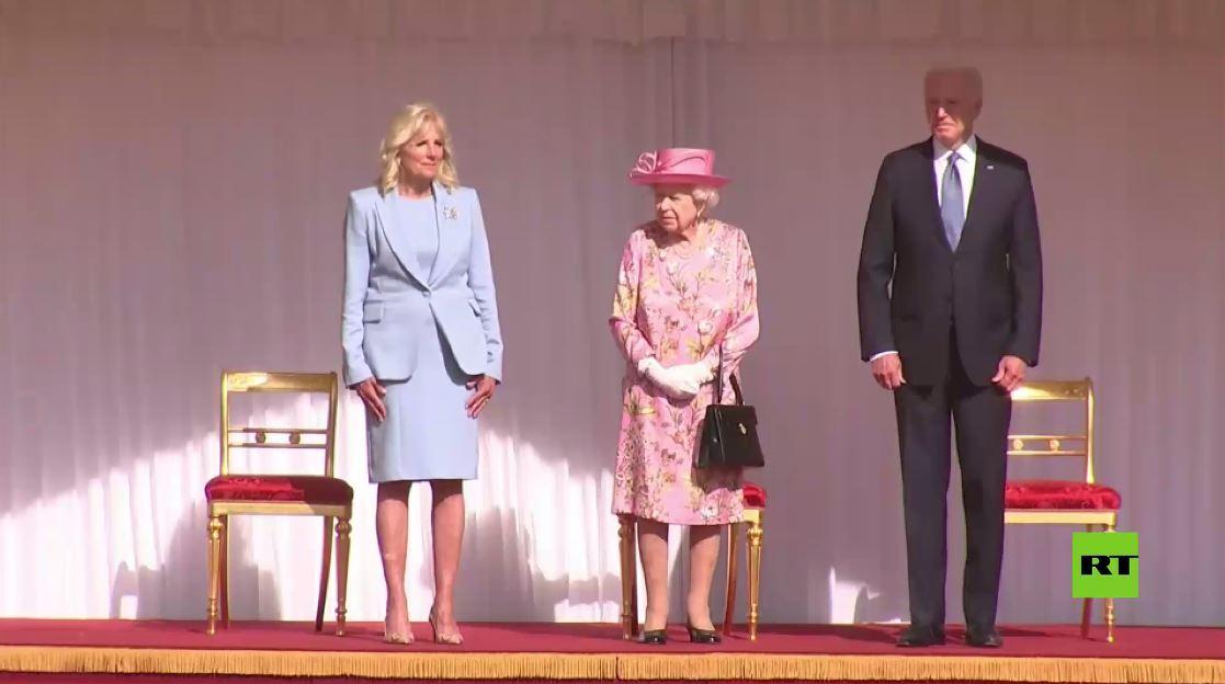 مراسم استقبال الملكة البريطانية إليزابيث الثانية للرئيس الأمريكي جو بايدن في قصر ويندزور