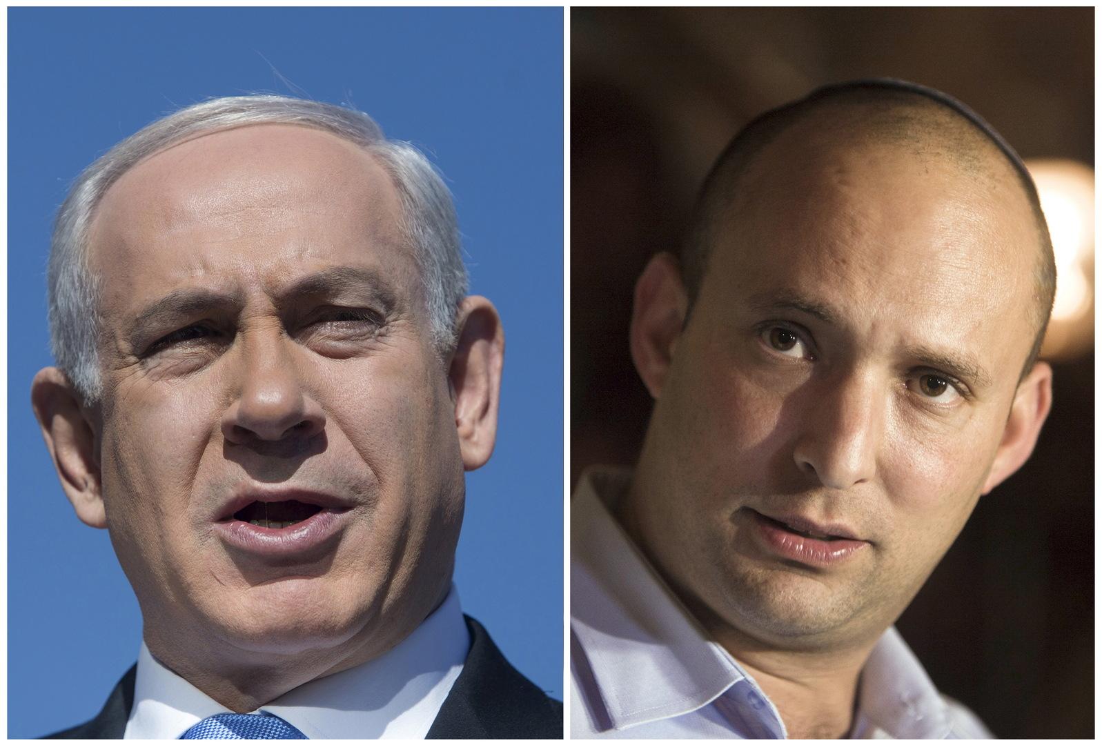رئيس الحكومة الإسرائيلية الجديد نفتالي بينيت ورئيس الوزراء الإسرائيلي السابق بنيامين نتنياهو