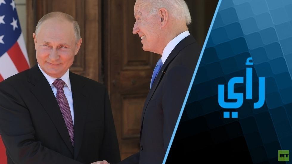 الرئيسان الروسي، فلاديمير بوتين (يسار الصورة)، والأمريكي، جو بايدن (يمين الصورة) أثناء قمة جنيف 16 يونيو 2021