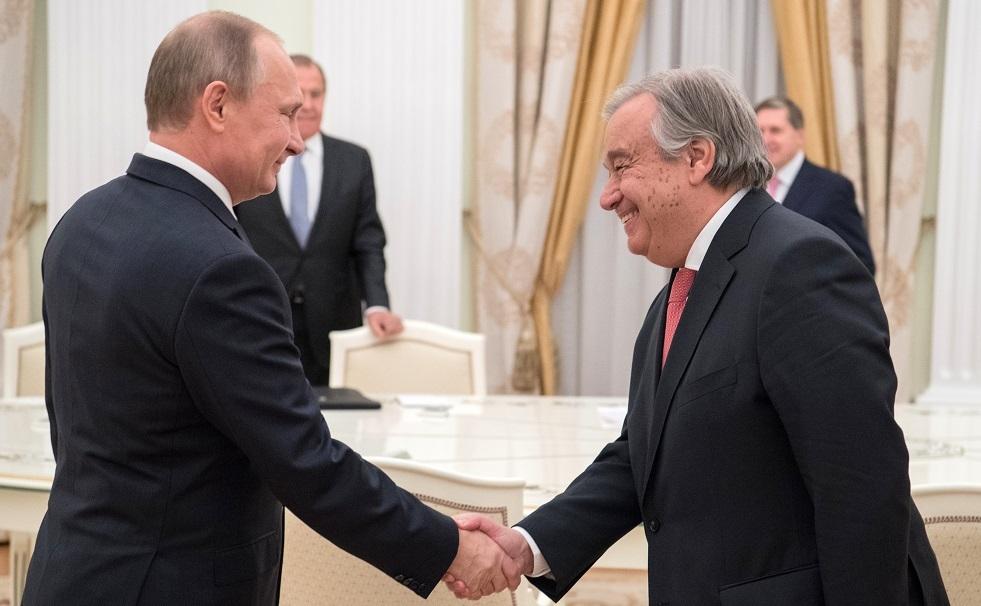 بوتين يهنئ غوتيريش على إعادة انتخابه لمنصب الأمين العام للأمم المتحدة