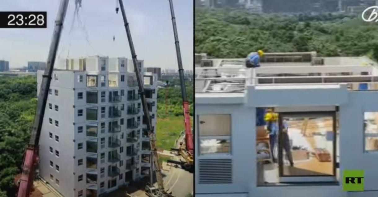 معجزة صينية.. بناء مبنى مكون من 10 طوابق خلال 28 ساعة فقط