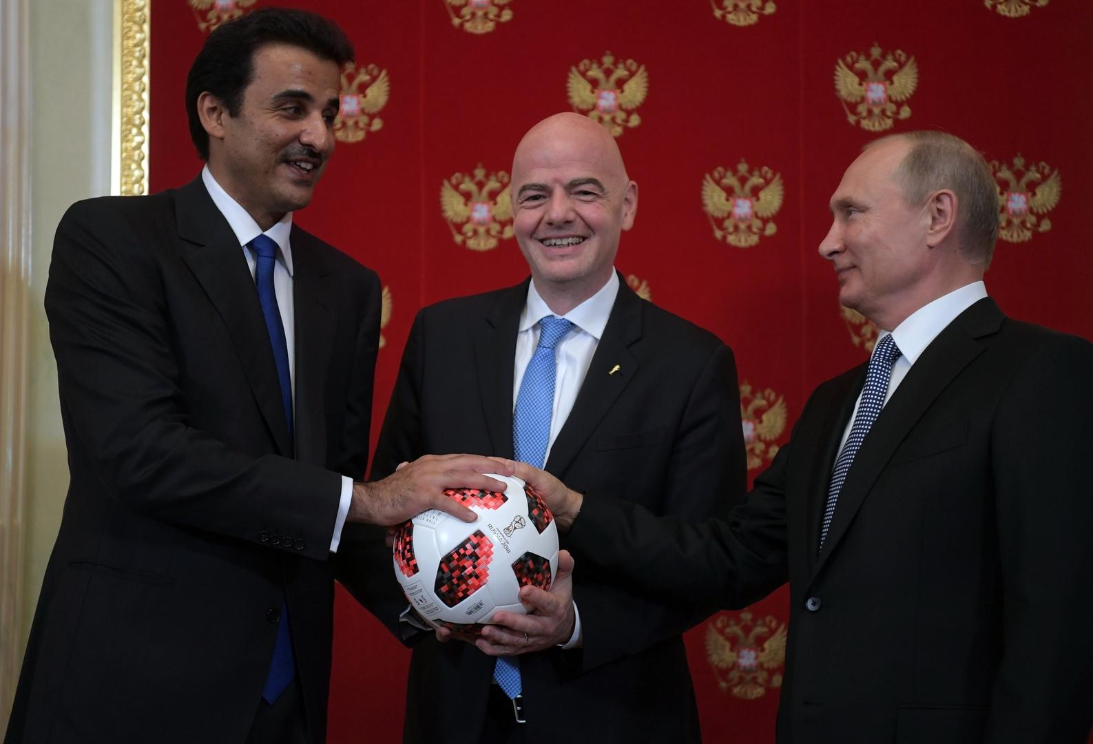 بوتين يبحث مع أمير قطر التحضيرات لكأس العالم