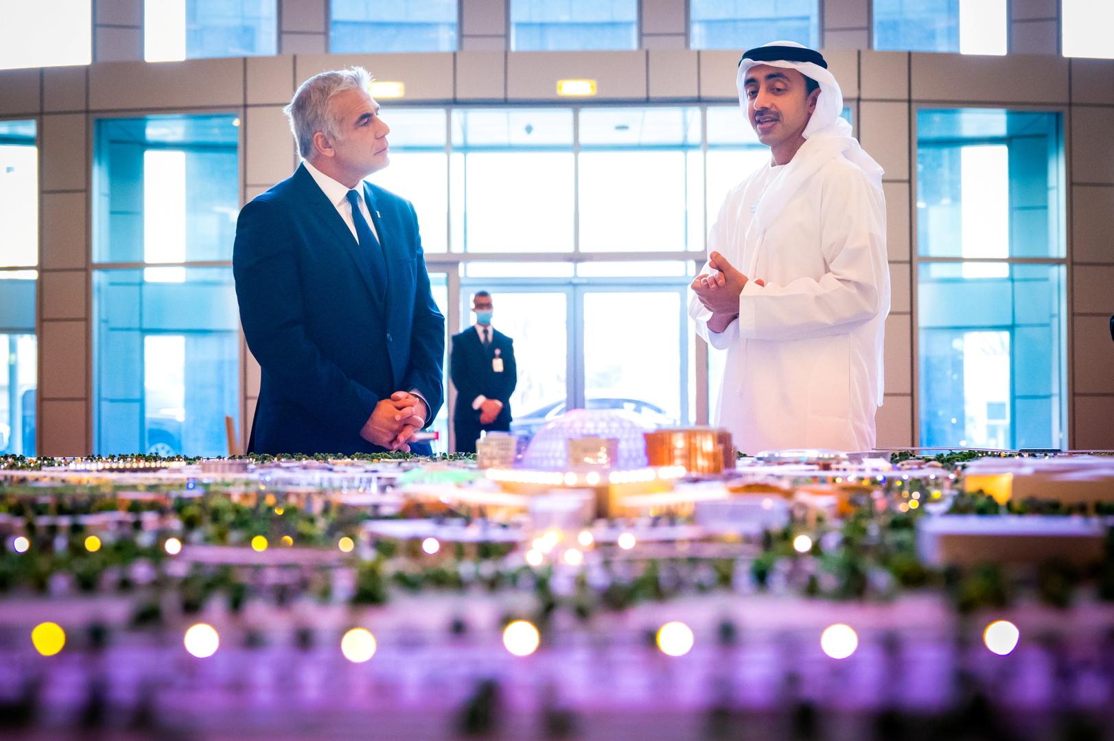 لابيد: بإمكان الإمارات أداء دور بناء في تحسين الظروف لكن على الفلسطينيين أن يرغبوا في ذلك أولا