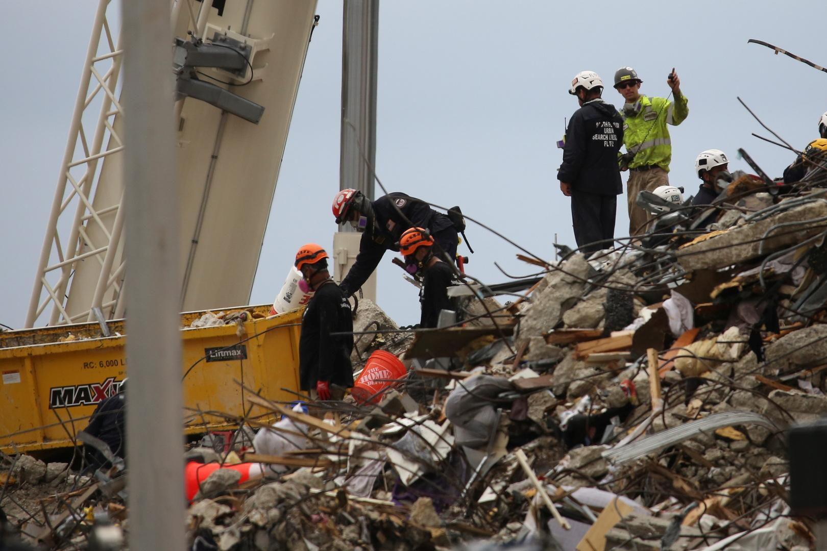 ارتفاع عدد ضحايا انهيار المبنى في فلوريدا الأمريكية إلى 18 قتيلا