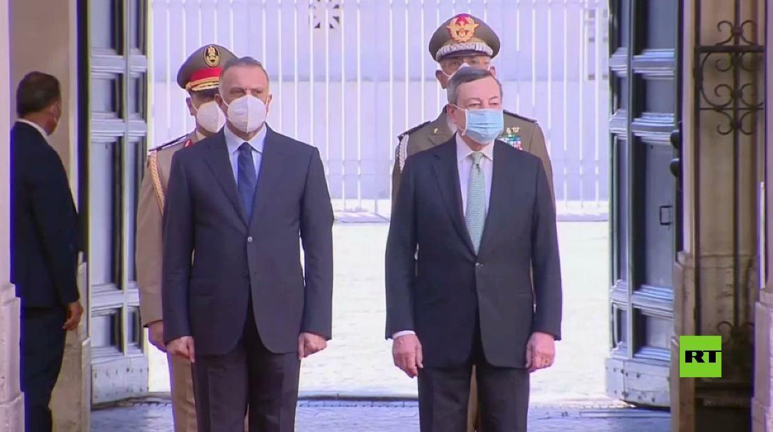 مراسم استقبال رئيس الوزراء العراقي مصطفى الكاظمي في روما