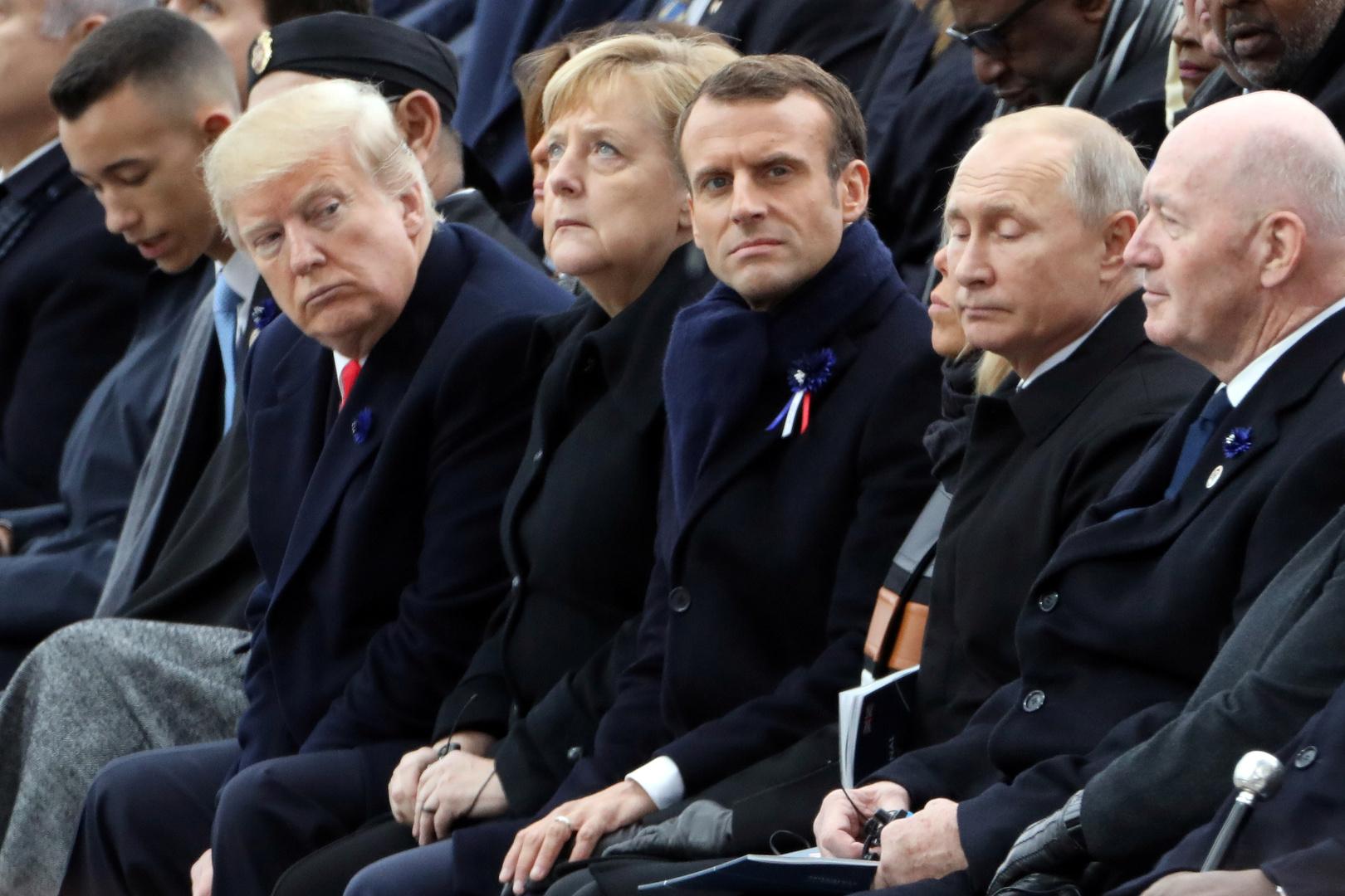 ترامب خلال مشاركته بالذكرى المئوية لانتهاء الحرب العالمية الأولى في باريس، 2018