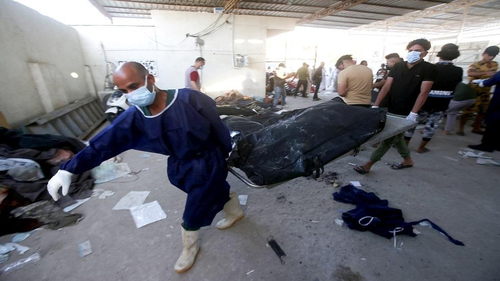 فيديو جديد لمأساة حريق مشفى الحسين في العراق
