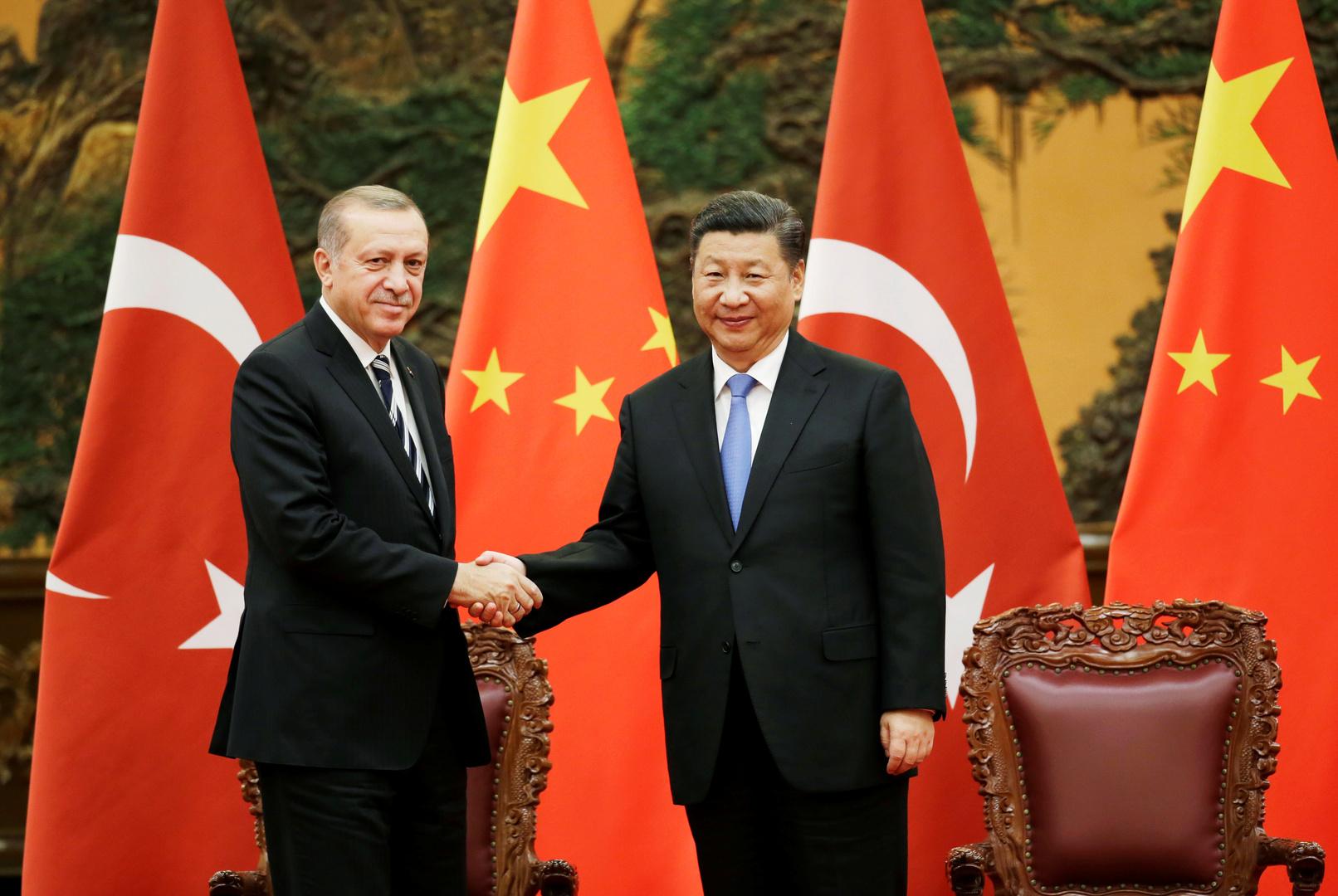 الرئيس الصيني، شي جين بينغ، والرئيس التركي، رجب طيب أردوغان.