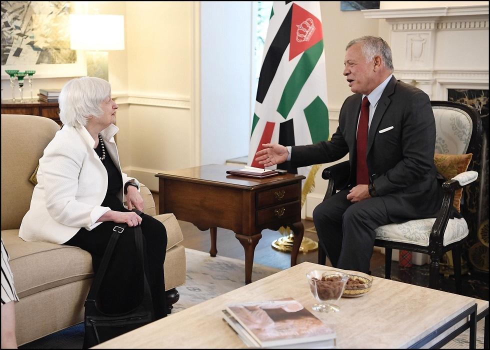 وزيرة الخزانة الأمريكية لملك الأردن: ينبغي الاستمرار في الإصلاحات الاقتصادية