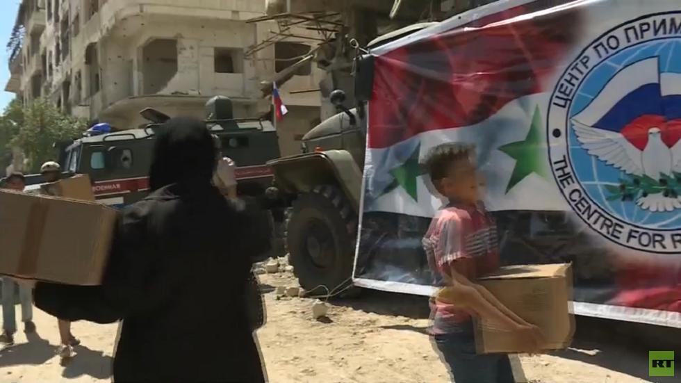 مقاطعة تولا الروسية تسلم مساعدات لأهالي مدينة حرستا في سوريا