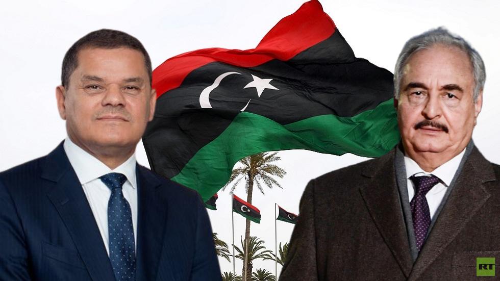 رئيس حكومة الوحدة الوطنية في ليبيا عبد الحميد الدبيبة، مع القائد العام للجيش الوطني الليبي المشير خليفة حفتر
