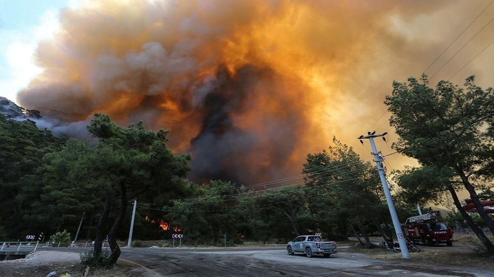 أردوغان يعلن مناطق الحرائق جنوبي البلاد