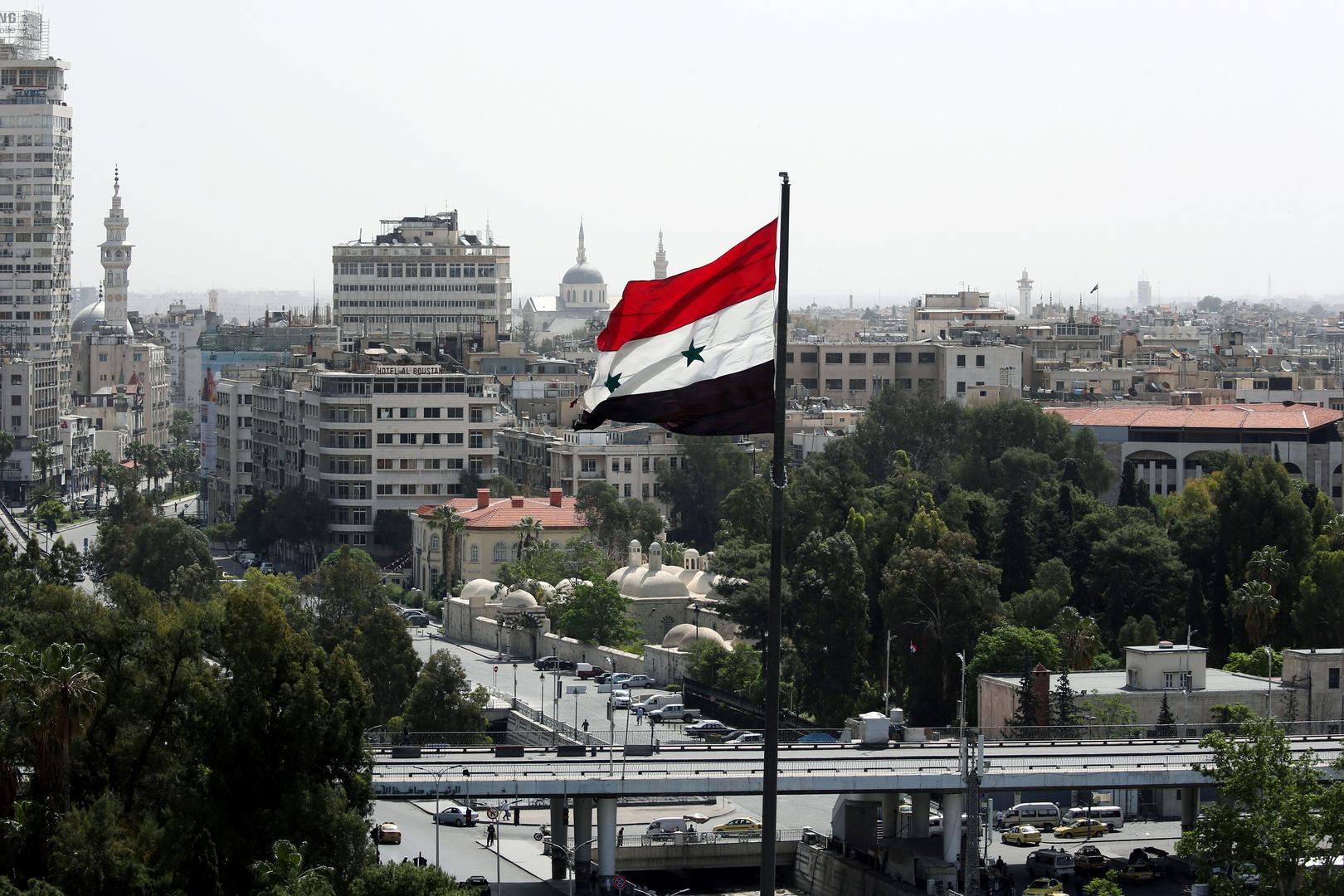 علم سوريا في العاصمة دمشق