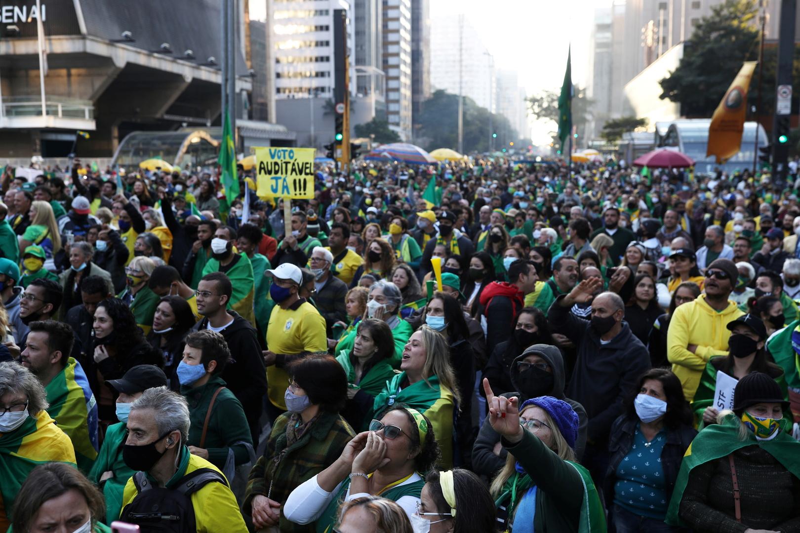 مؤيدون للرئيس البرازيلي جايير بولسونارو يتظاهرون في سان باولو، البرازيل، 1 أغسطس 2021