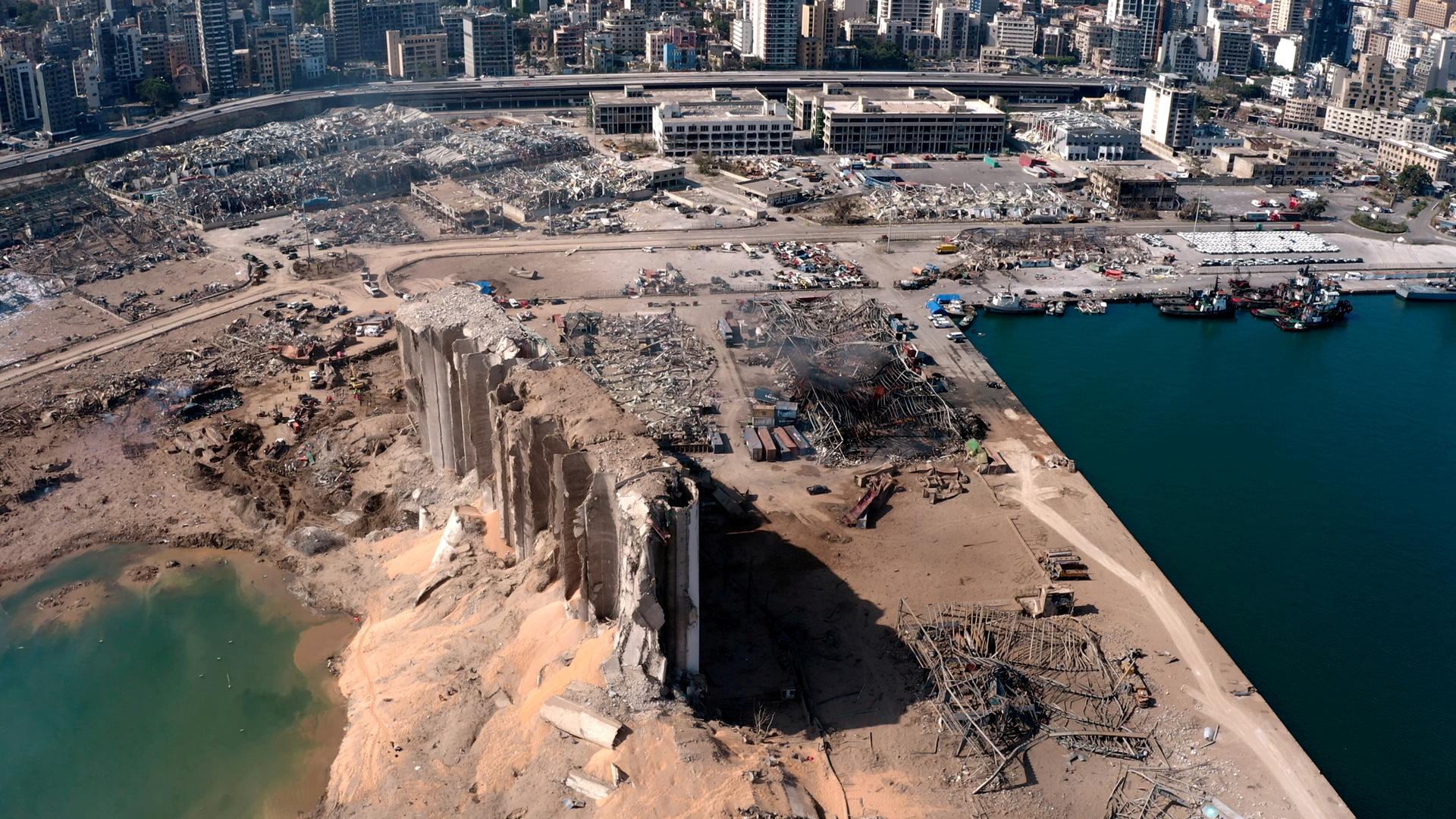 مرفأ بيروت الذي تعرض للانفجار في 4 أغسطس 2020