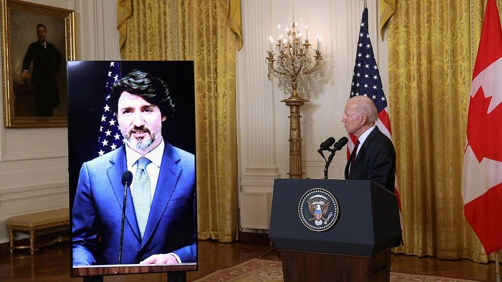 الرئيس الأمريكي جو بايدن ورئيس الوزراء الكندي جاسيتن ترودو خلال اجتماع افتراضي لهما في فبراير2021