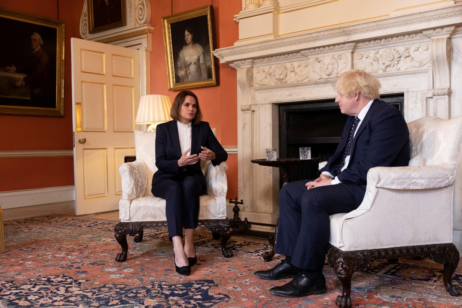 رئيس الوزراء االبريطاني بوريس جونسون يلتقي المرشحة السابقة لرئاسة بيلاروس سفيتلانا تيخانوفسكايا