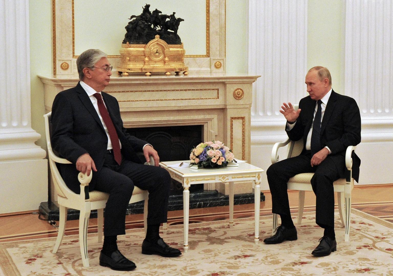 الرئيسان الروسي فلاديمير بوتين والكازاخستاني قاسم جومارت توكايف يجريان محادثات في موسكو، 21 أغسطس 2021