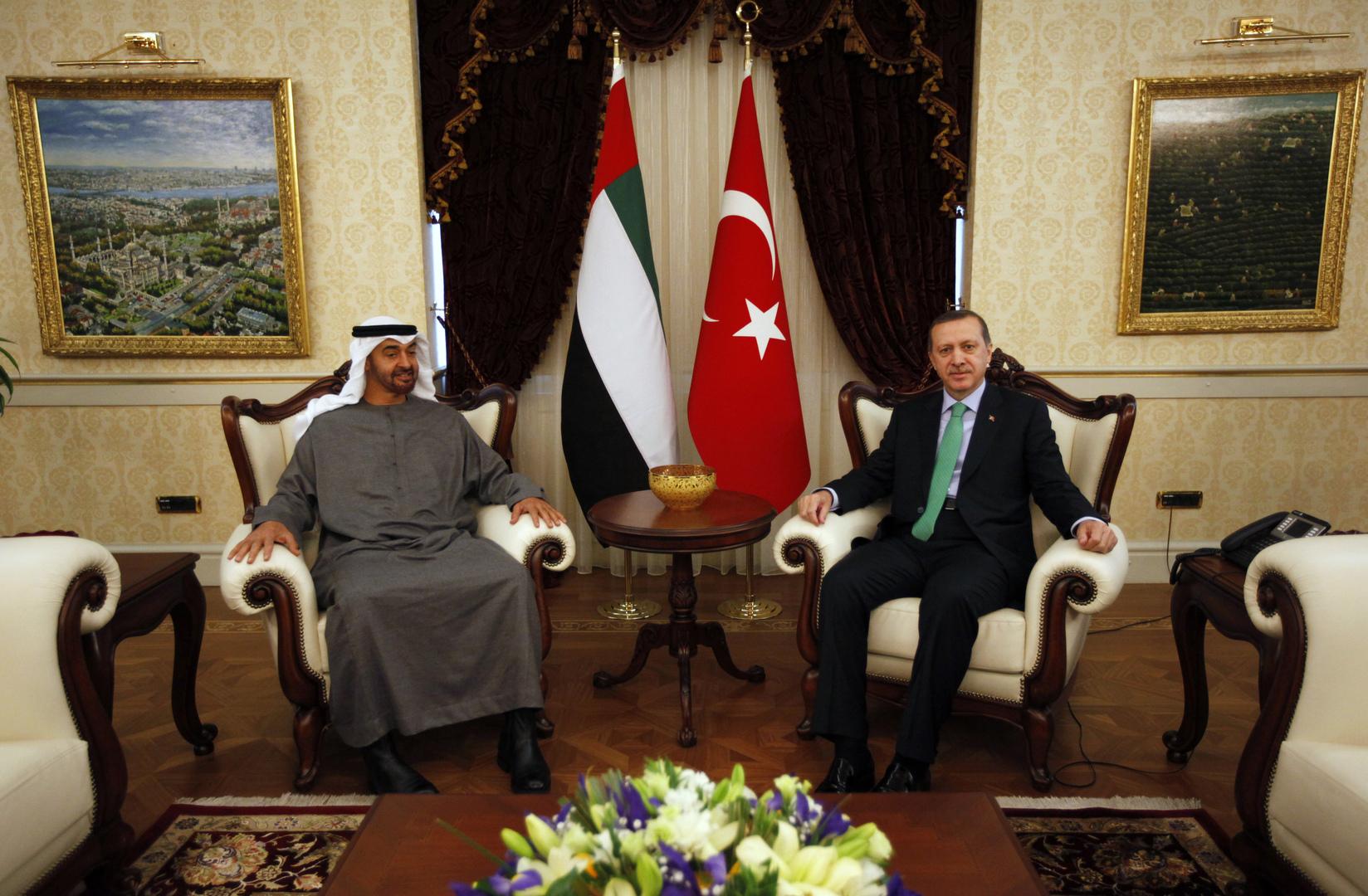 الرئيس التركي، رجب طيب أردوغان، وولي عهد أبوظبي، محمد بن زايد آل نهيان