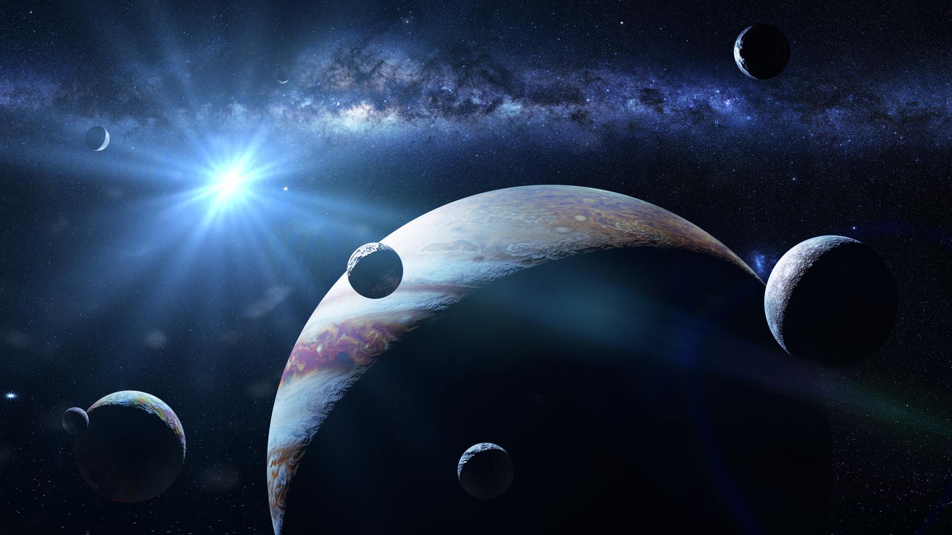 كوكب المشتري مع بعض من أقماره الـ69