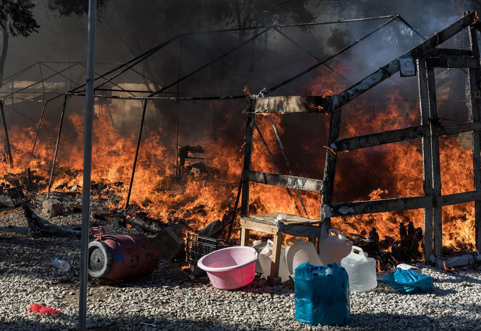 حريق في مخيم ليسبوس في اليونان (أرشيف)