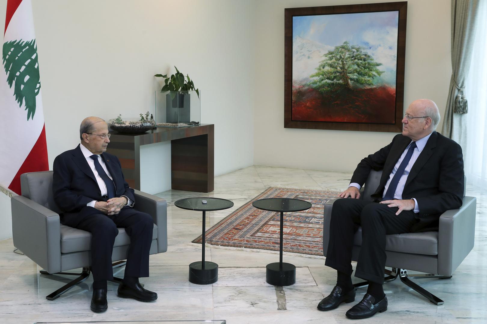 الرئيس اللبناني، ميشال عون ورئيس الحكومة اللبنانية نجيب ميقاتي