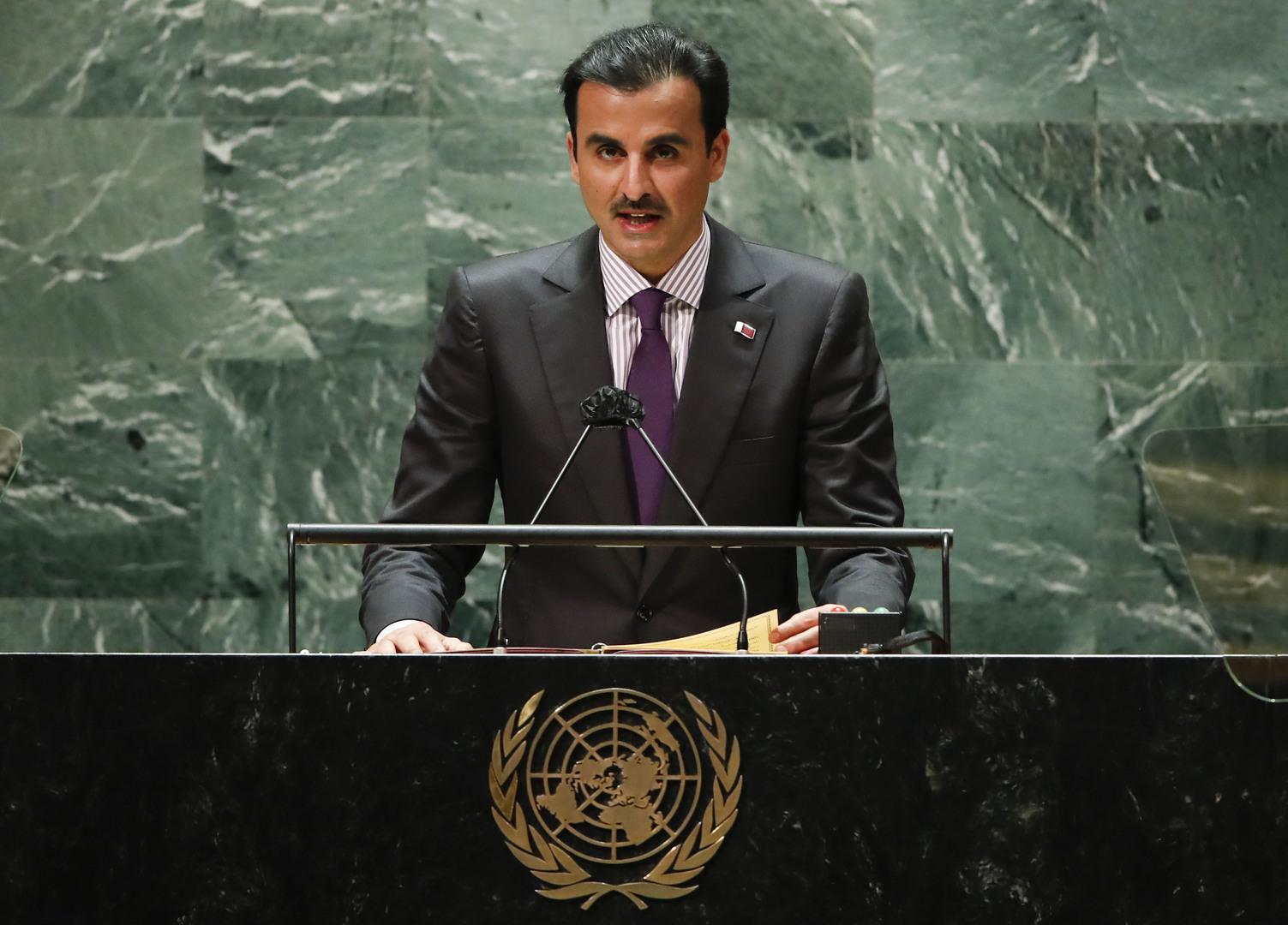 أمير قطر، الشيخ تميم بن حمد آل ثاني، يتحدث خلال جلسة المناقشات السياسية العامة للدورة الـ76 للجمعية العامة للأمم المتحدة.