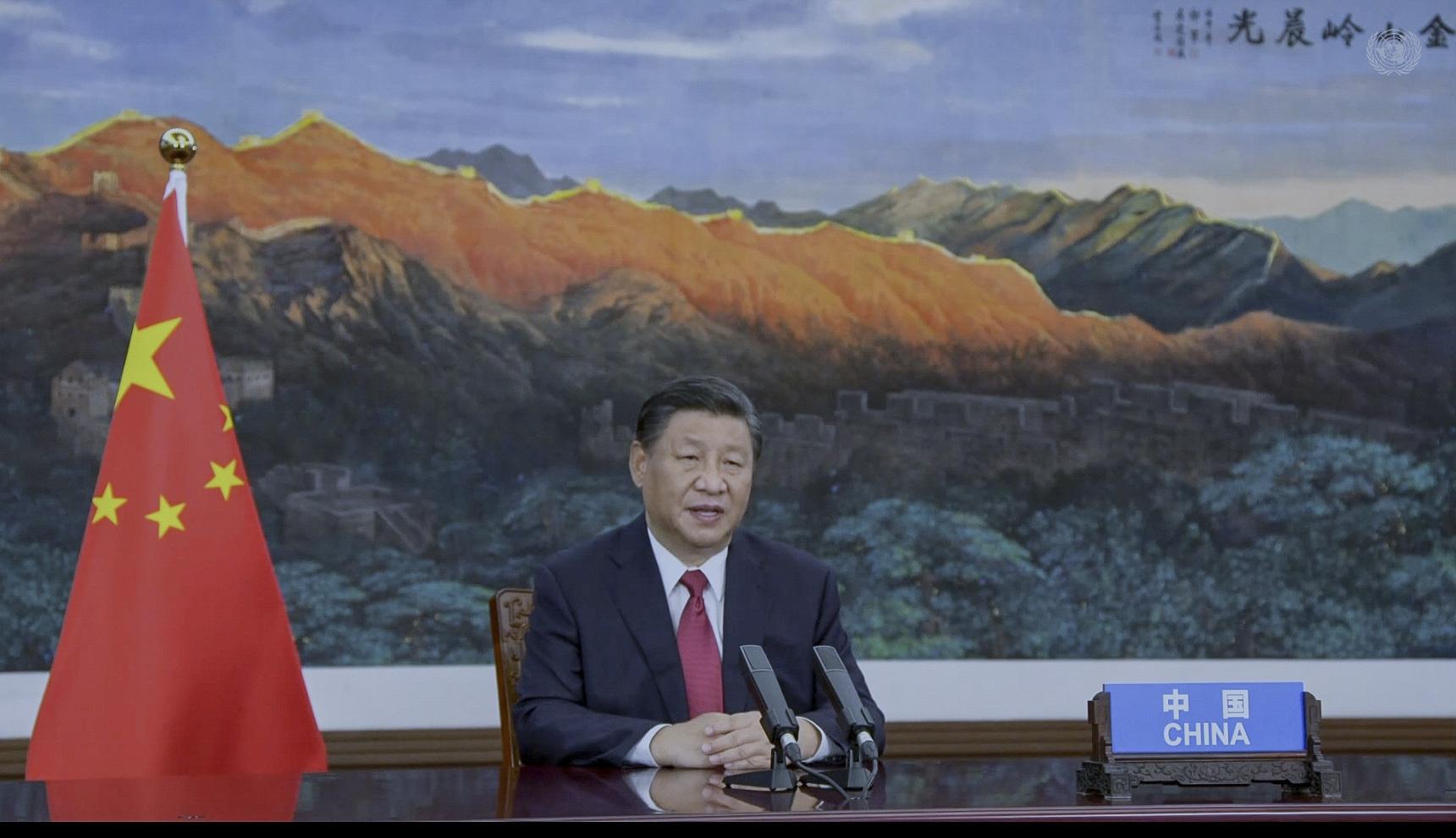 الرئيس الصيني، شي جين بينغ، في خطاب وجهه عبر الفيديو خلال جلسة المناقشات السياسية العامة للدورة الـ76 للجمعية العامة للأمم المتحدة.