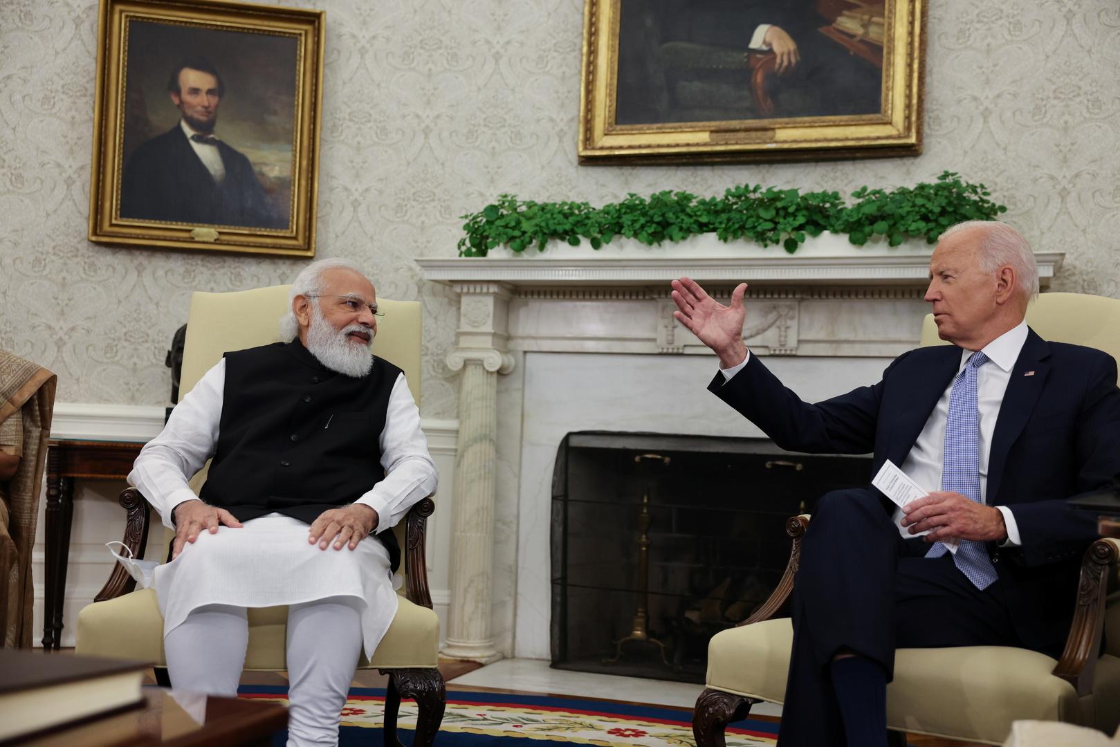 الرئيس الأمريكي جو بايدن يلتقي رئيس الوزراء الهندي ناريندرا مودي