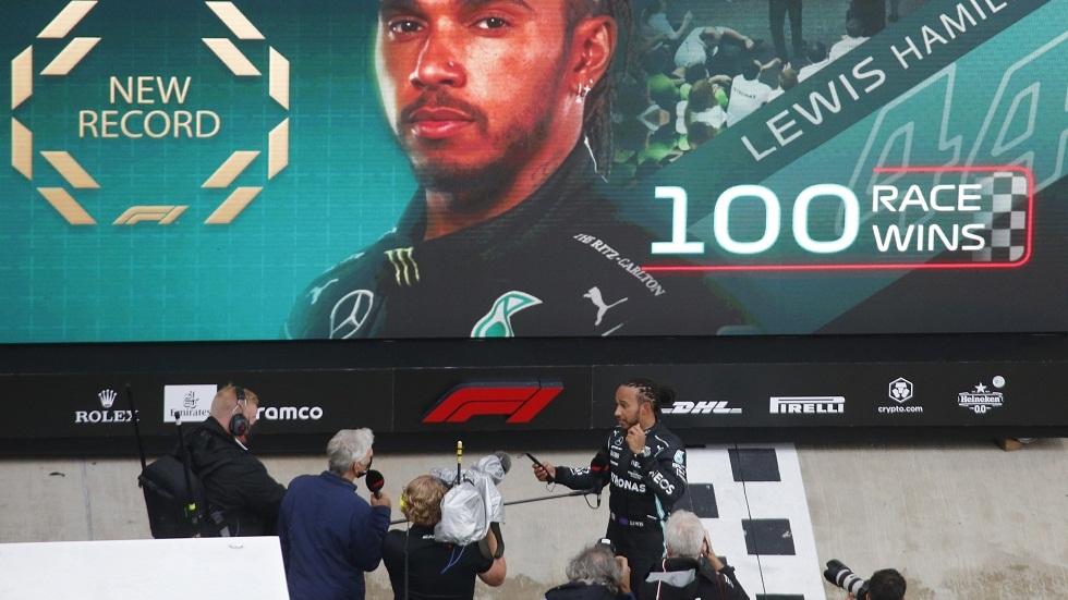 البريطاني هاميلتون يفوز بسباق جائزة روسيا الكبرى للفورمولا 1 محققا انتصاره المئة