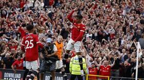 شاهد.. رونالدو يسجل ثنائية في أول مباراة له مع مانشستر يونايتد بعد عودته