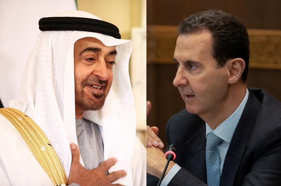 ولي عهد أبوظبي محمد بن زايد آل نهيان والرئيس السوري بشار الأسد