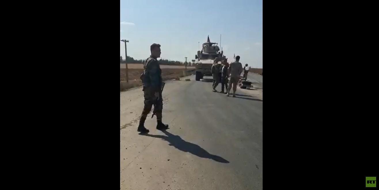 الجيش السوري يمنع رتلا أمريكيا من العبور إلى مدينة القامشلي