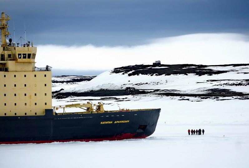 Russian Icebreaker near Franz Josef Land