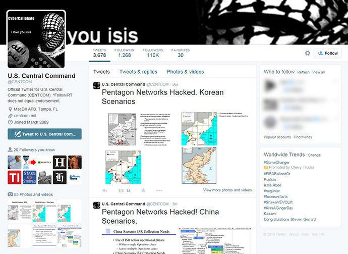 Сторонники «Исламского государства» взломали аккаунт центрального командования США в Twitter