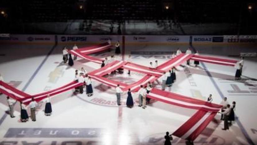 Скандал вокруг матча КХЛ: на льду «Арены-Рига» появился символ, похожий на свастику