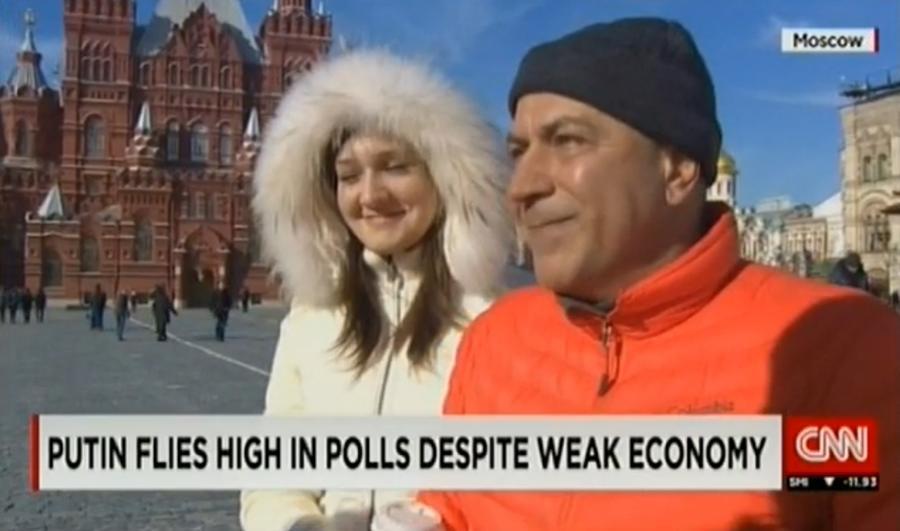 Корреспондент CNN не смог найти на Красной площади ни одного критика Владимира Путина