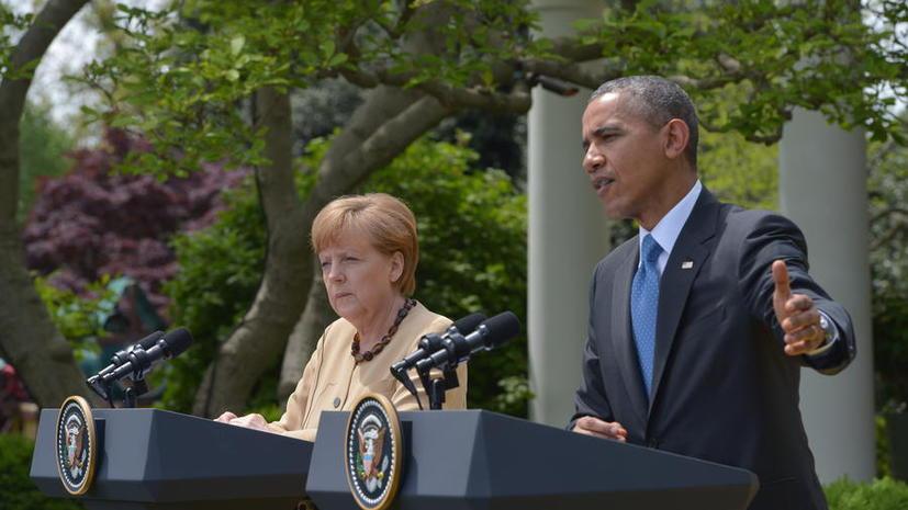 Меркель провела переговоры с Обамой в Вашингтоне впервые после скандала с прослушкой её телефона АНБ